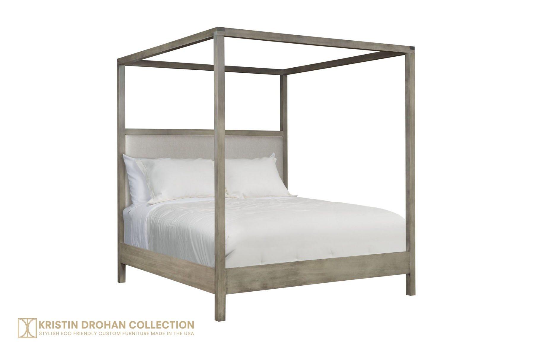 Grayton Canopy Bed Driftwood Finish Evere Hopsack Linen King, Cal King and Queen