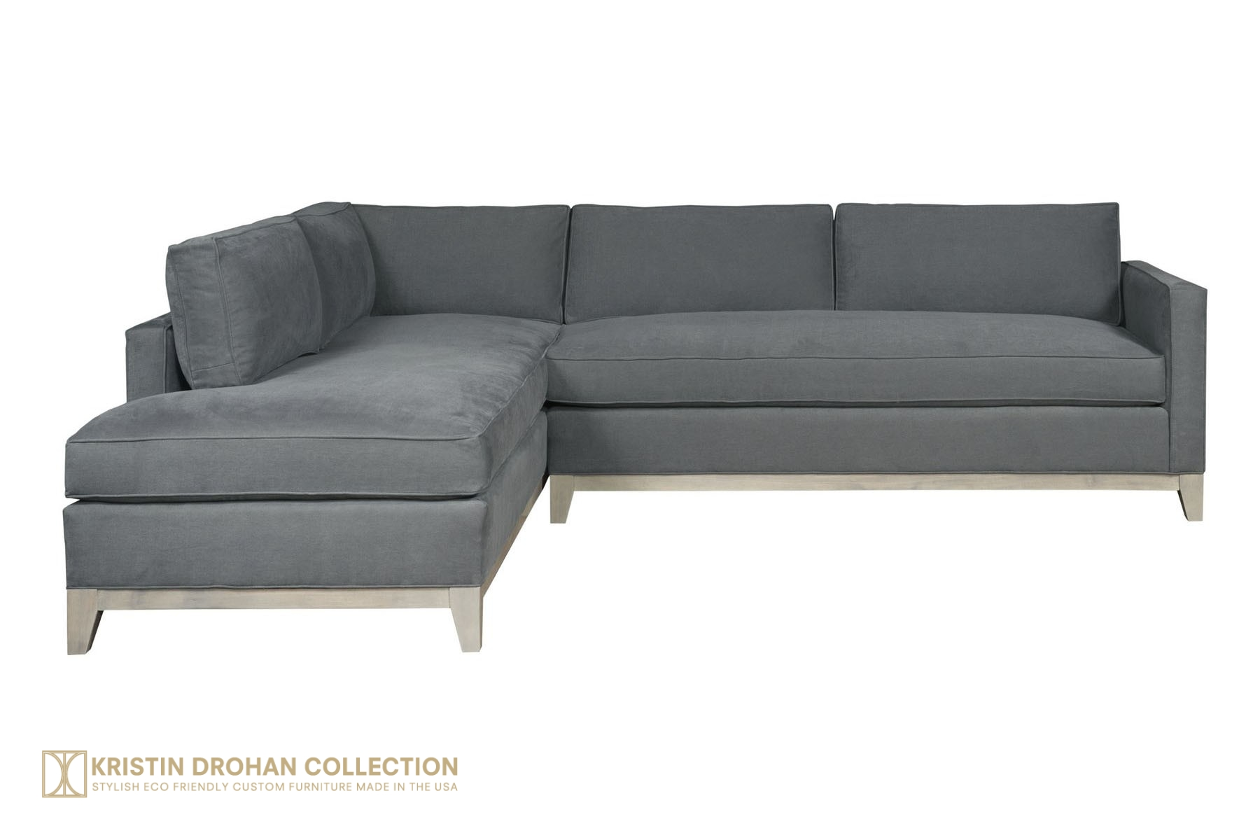 Keegan Blue sectional straight on