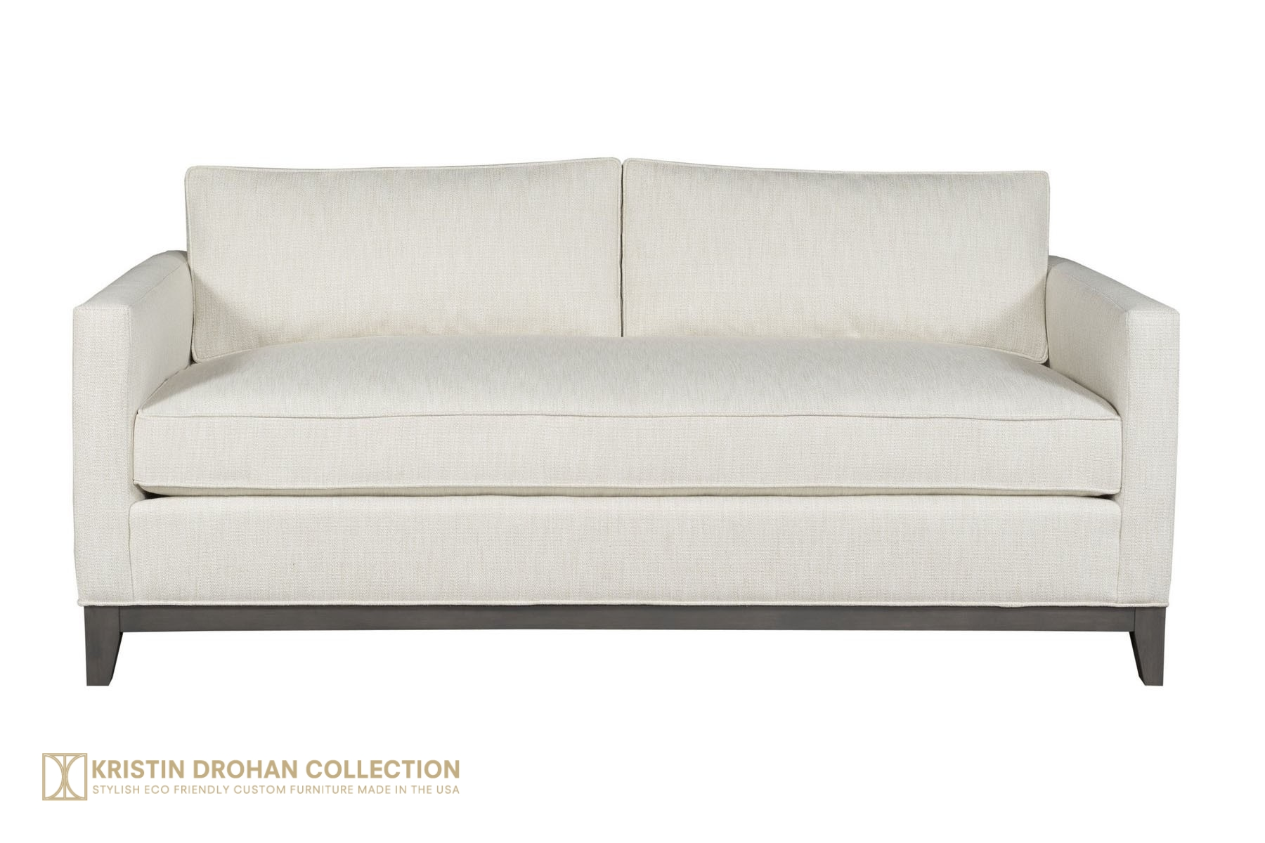 Keegan Sofa Chrom Granbury Ivory straight on