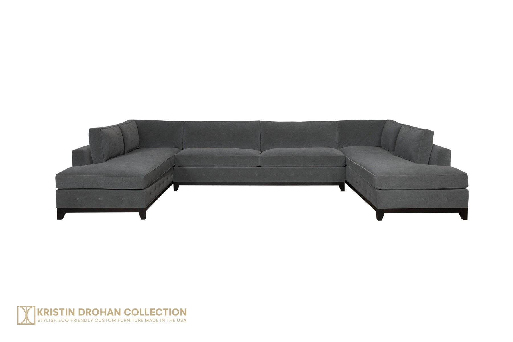 Reagan 3 pc Sectional Chrom Henry Charcoal Velvet