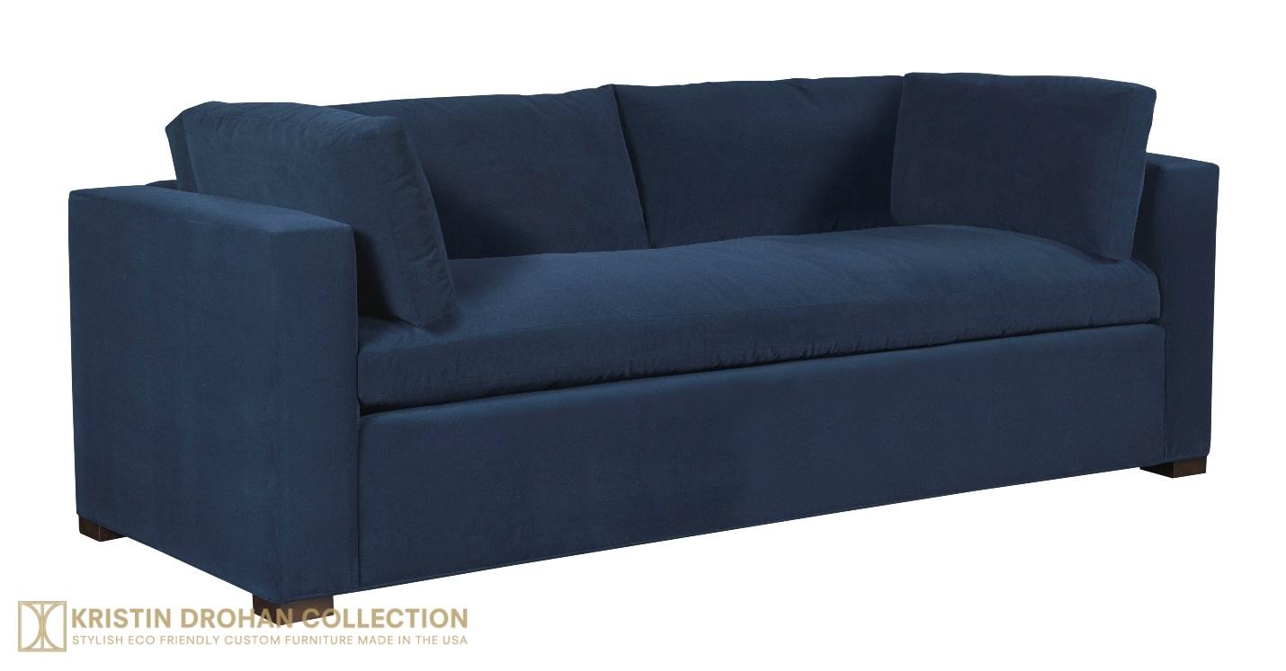 Nantucket Sofa, Normandy Blue Crypton velvet