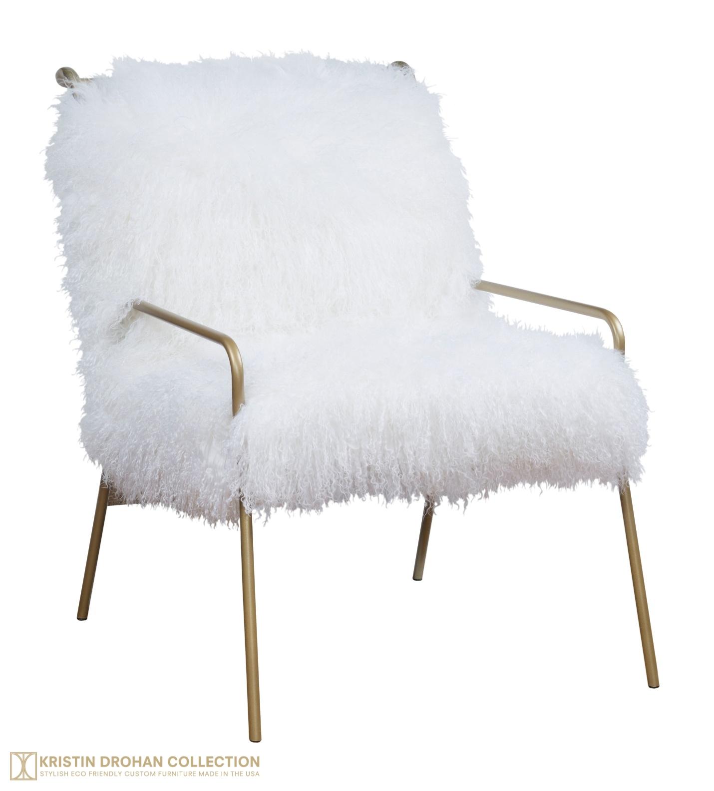 Brooklyn Chair, fluffy hide metal chair