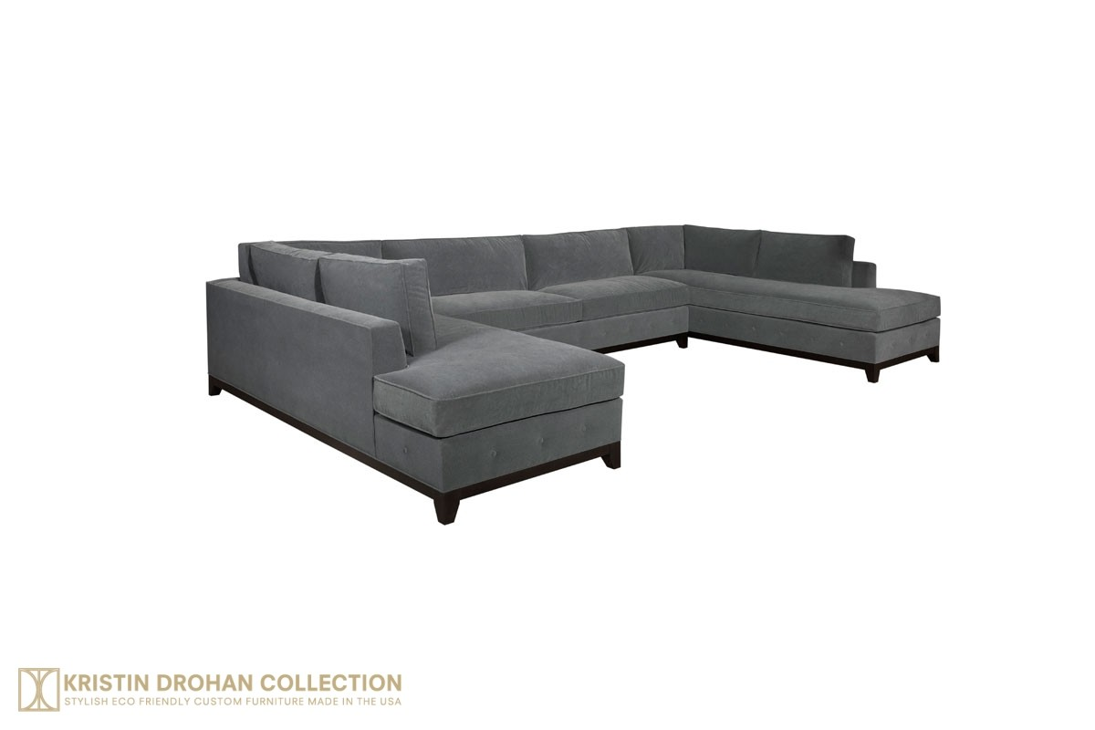 Raegan Sectional - Performance Crypton Velvet Charcoal