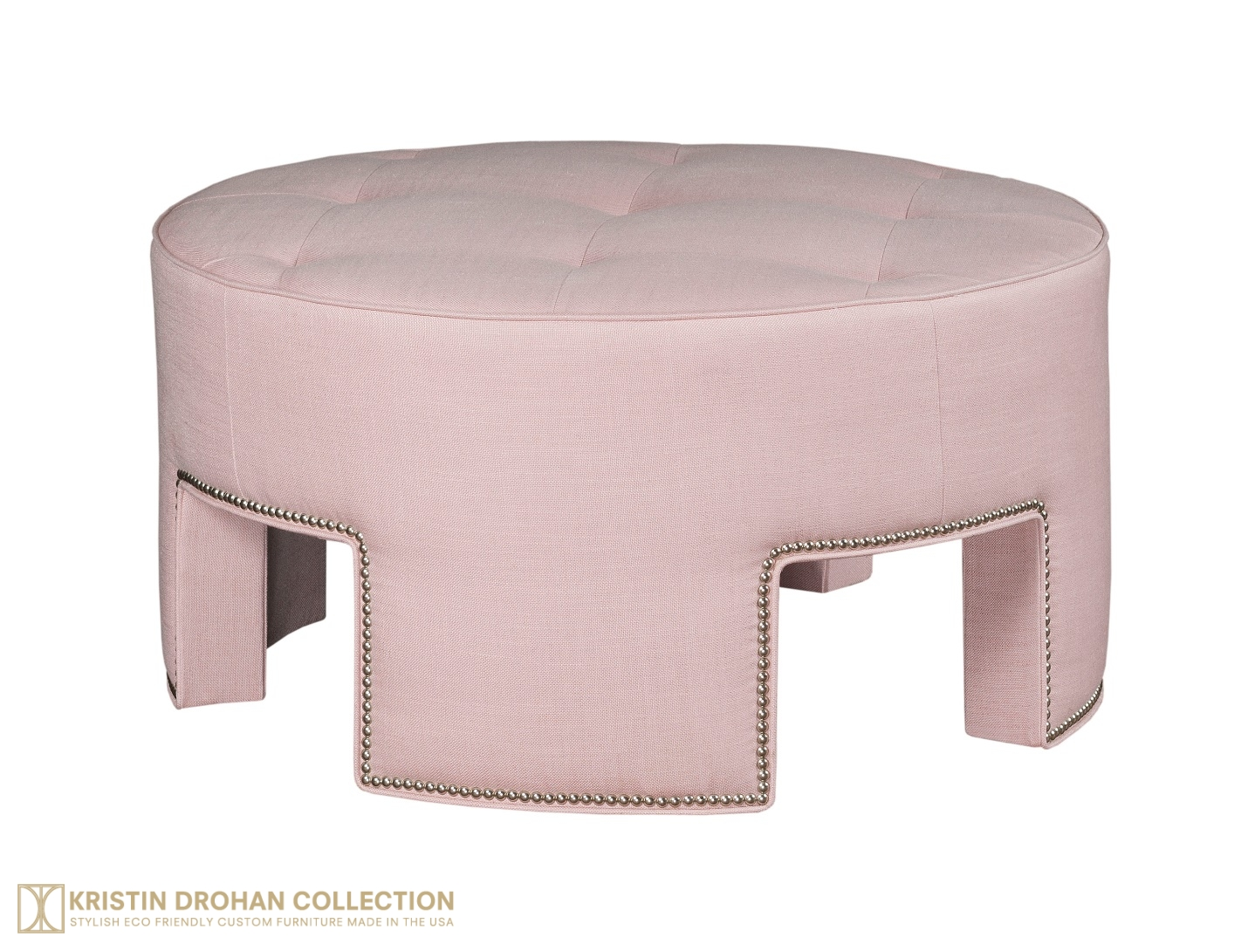 Anthony Ottoman, blush pink