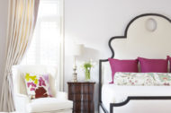 Brayton Bench, Denise bed, Celine Ottoman and Leigh Wing Chair Lifestyle shot