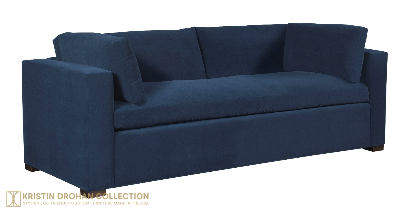 Nantucket Sofa, Normandy Blue Crypton velvet