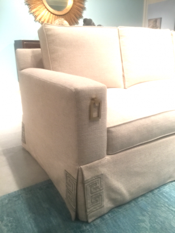 Kristin Drohan Collection Reed Sofa with fretwork detail at the sofa skirt corner.